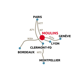 Carte de situation de l'office de tourisme de Moulins